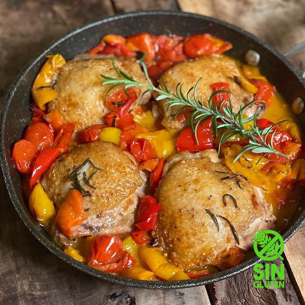 pollo a la romana - pollo a la olla con pimientos