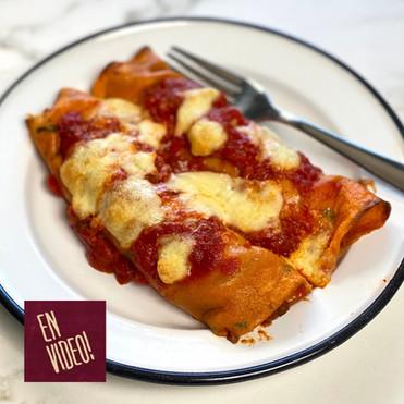 Canelones con Masa de Tomate y Albahaca Rellenos con Vegetales