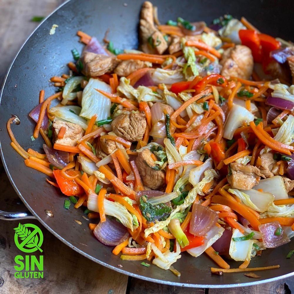salteado de vegetales y pollo - wok de vegetales y pollo