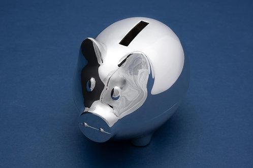 Versilberte Spardose Schwein