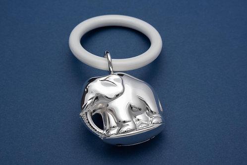 Silber Babyrassel mit Beißring - Motiv Elefant