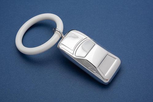 Silber Babyrassel mit Beißring - Motiv Auto (im Samtsäckchen)
