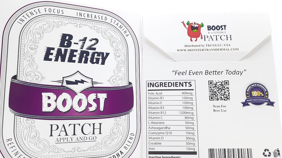 B12-Boost Patch (60 Patches) Ashwagandha root extract, B-12 and 12 vitamins