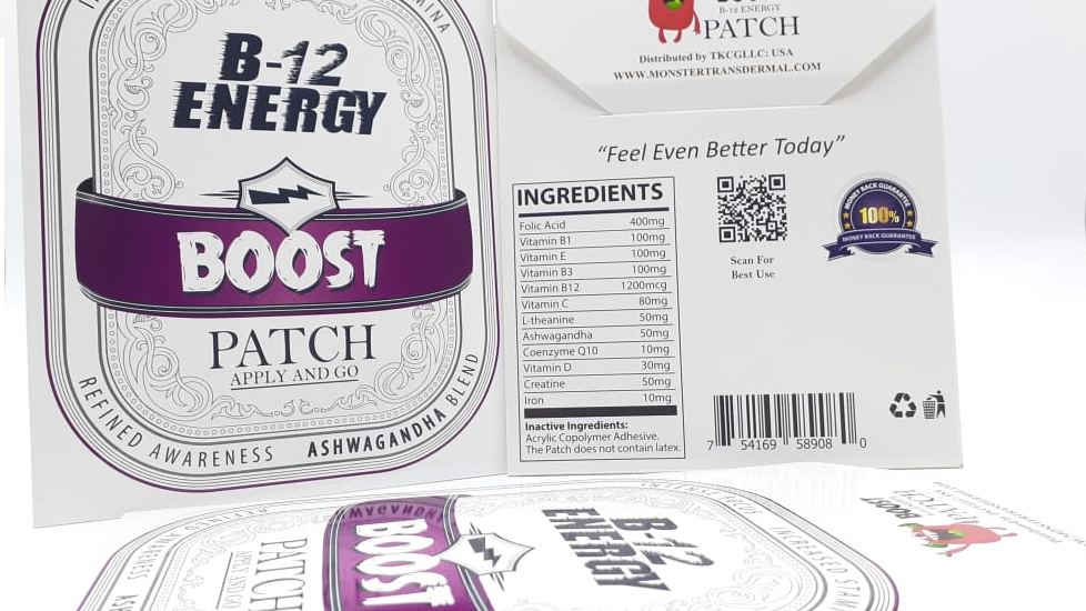 B12-BOOST Patch (1 Month-30) Ashwagandha root extract, B-12 and 12 vitamins