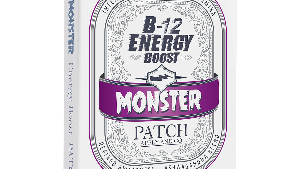 Monster Energy Patch (60 Patches) Ashwagandha root extract, B-12 and 12 vitamins