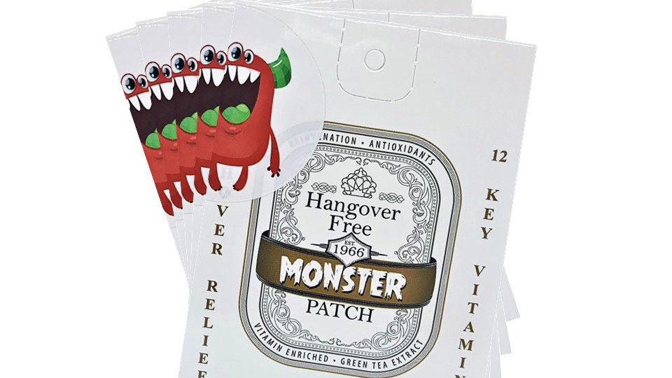 Monster Hangover Patches 12 Booster Enriched Vitamins (5 Patches).