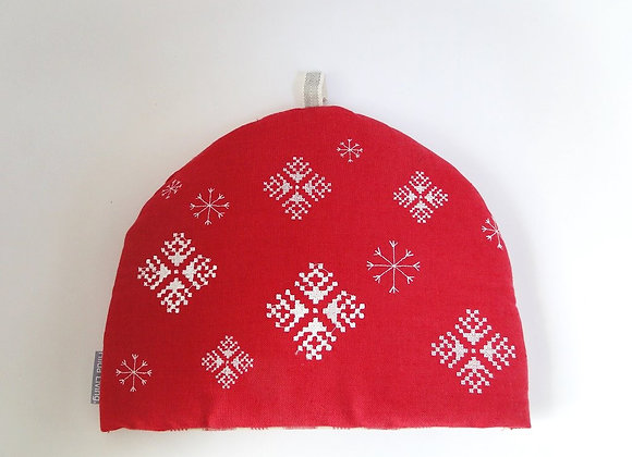 Red Embroidered Nordic Christmas Tea Cosy