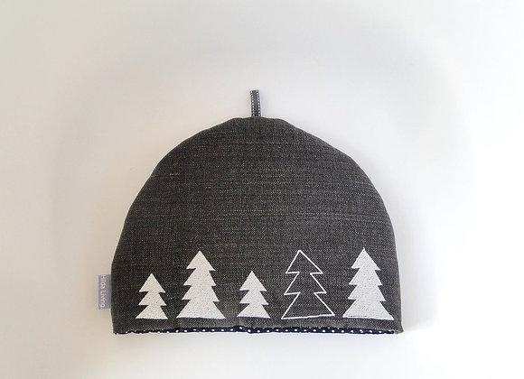 Grey Embroidered Tree Parade Christmas Tea Cosy