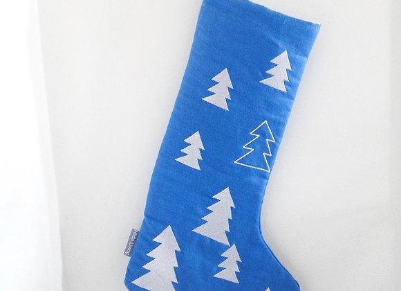 Medium Blue Tree Christmas Stocking