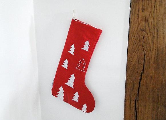Medium Red Tree Christmas Stocking