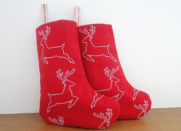 Small Reindeer Christmas Stocking