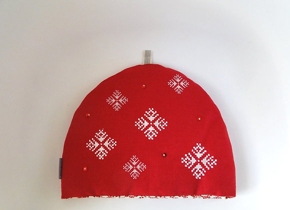 Red Embroidered and beaded Christmas Tea Cosy