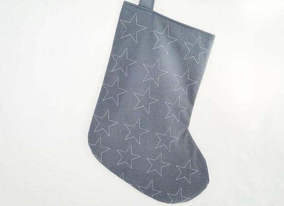 Large Grey Wondrous Star Christmas Stocking