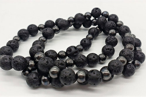 Hematite x Lava (Men's) Bracelet