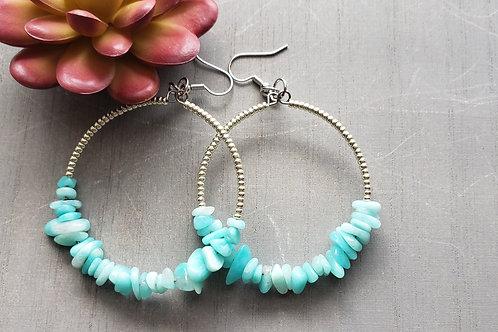 Aquamarine Hoop Earrings