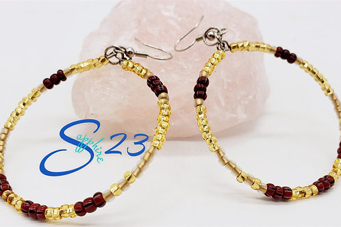 Beaded Hoops: Inspired Red & Gold