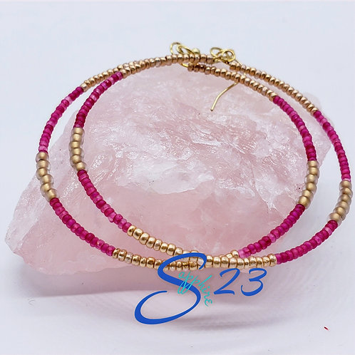 Beaded Hoops: Golden Pink