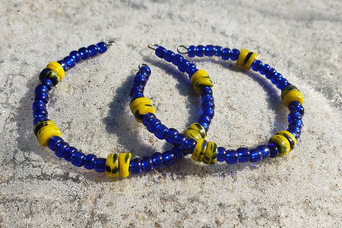 Beaded Hoops: Blue and Yellow
