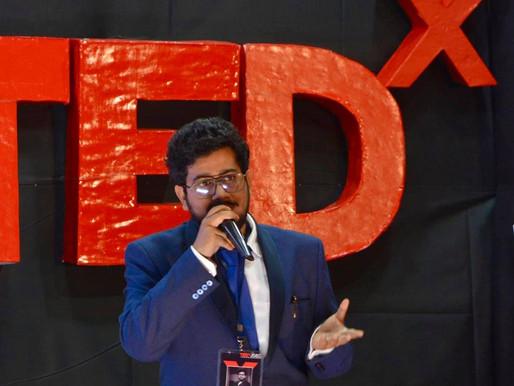 Rahul Basak as a speaker at TEDx Jalpaiguri Government Engineering College.