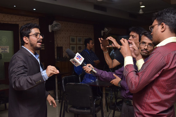 Rahul Basak talking with press about Amar Canvas®