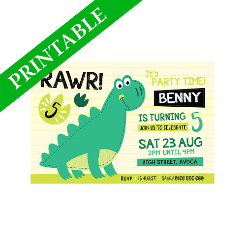 DINOSAUR STEGOSAURUS INVITATION PRINTABLE