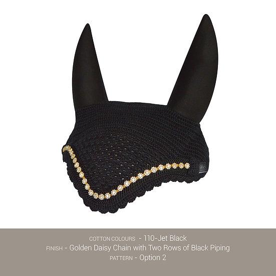Boduke Bonnet Black with Golden Daisy Chain