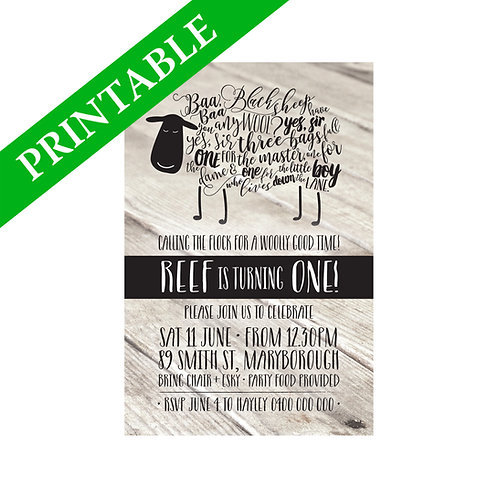BAA BAA BLACK SHEEP INVITATION PRINTABLE
