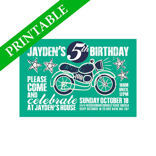 MOTORBIKE INVITATION PRINTABLE