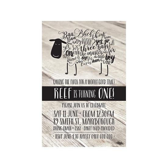 BAA BAA BLACK SHEEP INVITATIONS