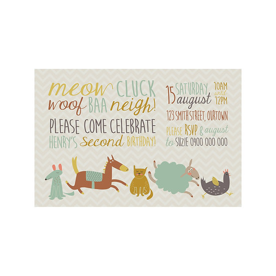 FARM ANIMALS INVITATIONS