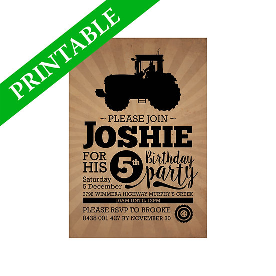 TRACTOR INVITATION PRINTABLE