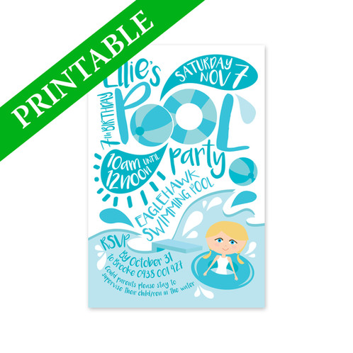 POOL PARTY INVITATION PRINTABLE