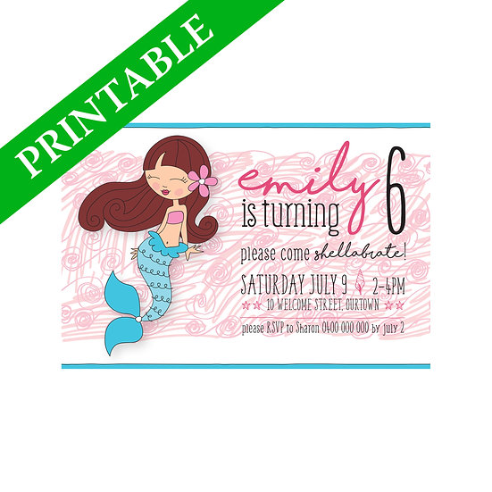 MERMAID INVITATION PRINTABLE