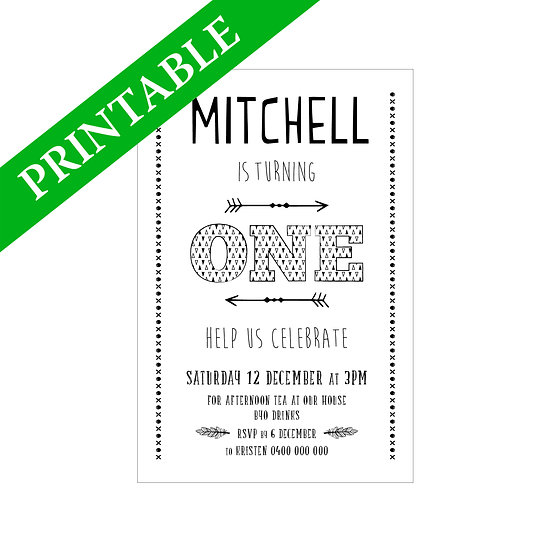 ARROWS INVITATION PRINTABLE