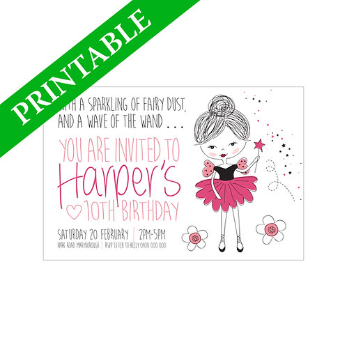 SPUNKY FAIRY INVITATION PRINTABLE