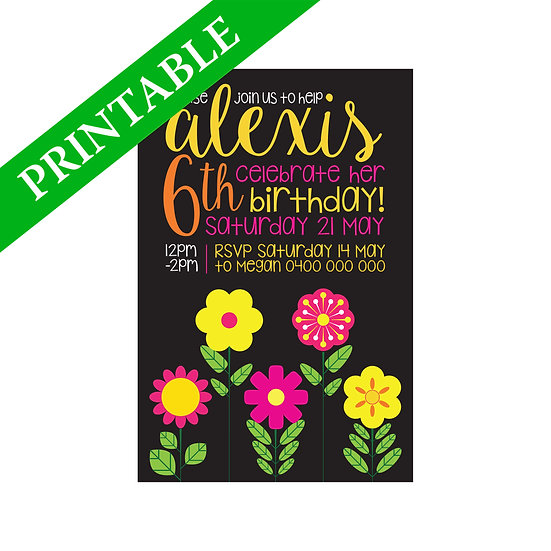 FLOWER GARDEN INVITATION PRINTABLE