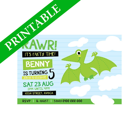 DINOSAUR PTERODACTYL INVITATION PRINTABLE