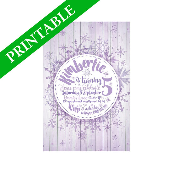 SNOWFLAKES INVITATION PRINTABLE