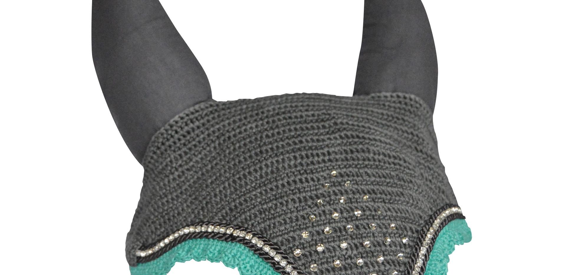 Grey & Aqua Bonnet single row diamente a