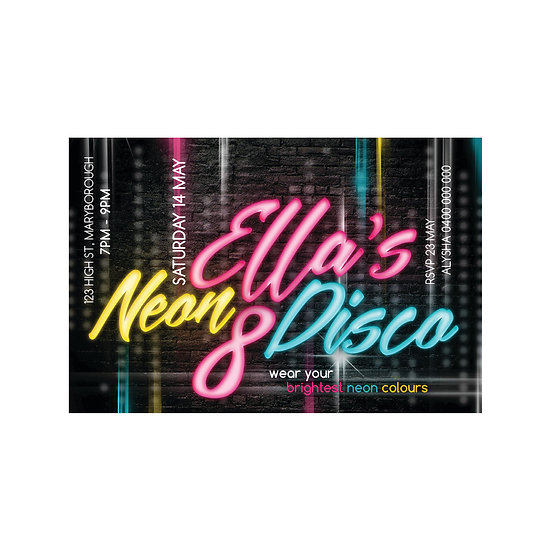 NEON DISCO INVITATIONS