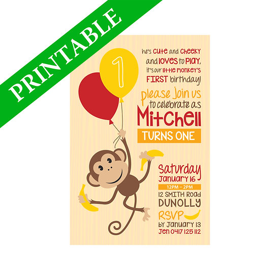 CHEEKY MONKEY INVITATION PRINTABLE