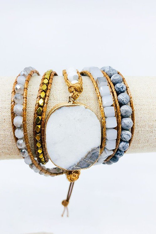 Electroplated Semi Precious Stone with Gold Beads