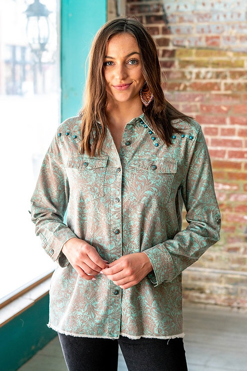Western Turquoise Tooled w/Turquoise buttons and studs