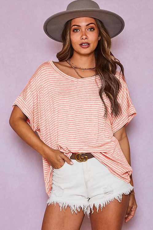 Short Sleeve Striped Knit Loose Fit V Neck Top -Made in USA