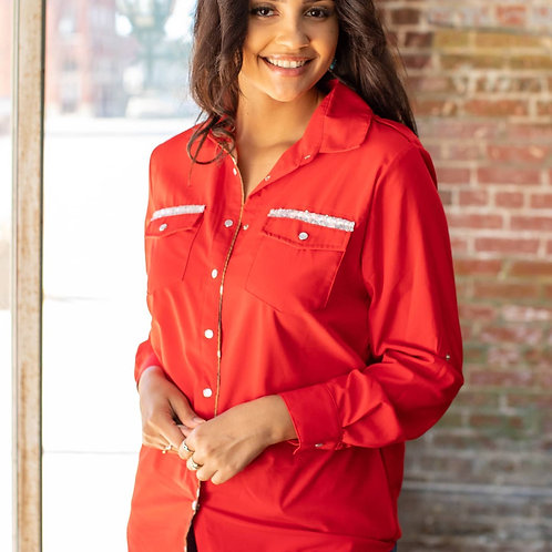 Crimson Red Military Inspired Cowhide trim Button up shirt