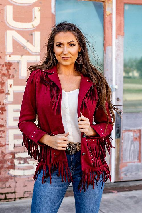 Maroon Suede Studded Fringe Jacket