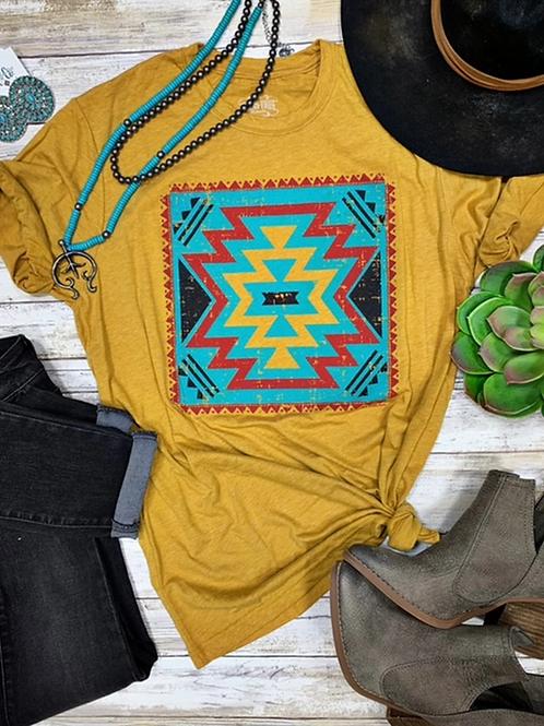 Texas True Threads Bridget Aztec - Mustard