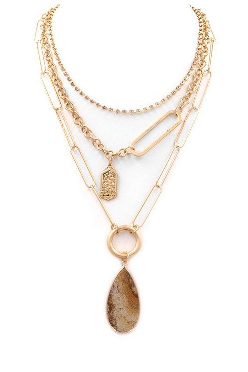"Stone teardrop layered metal necklace Length: 14"" + 3"" ext."