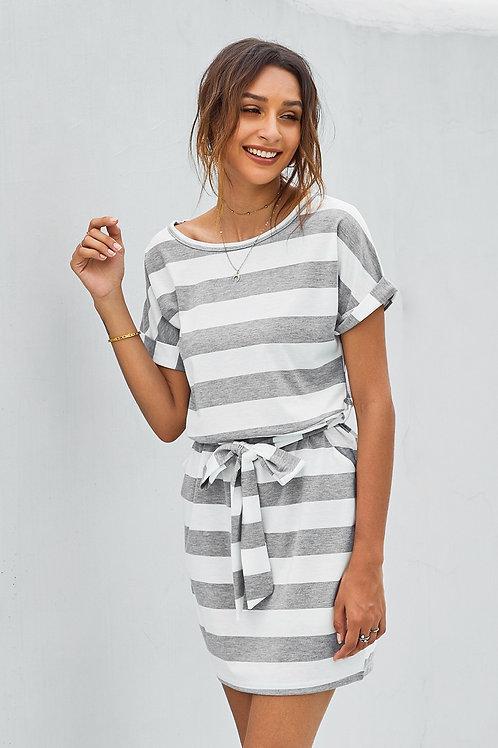 Stripes Pocketed T-shirt Dress with Belt