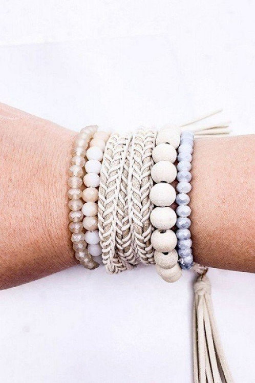 Glass and wood beaded set bracelet with a Braided Suede Tassel Wrap Bracelet